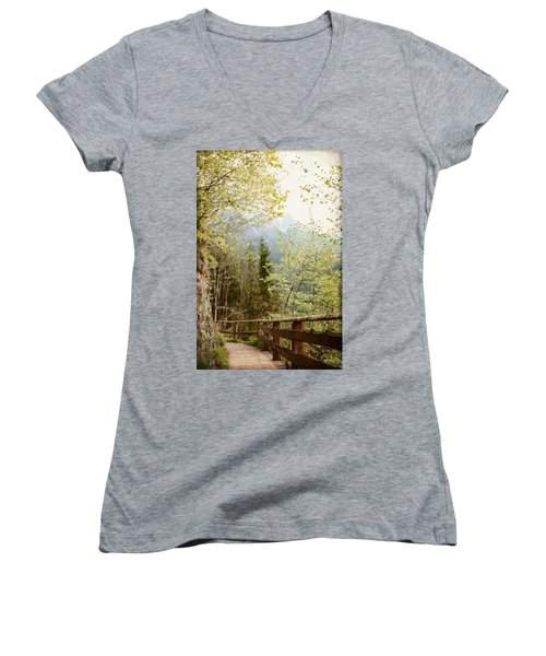 Women's V-Neck T-Shirt (Junior Cut) featuring the photograph Austrian Woodland Trail And Mountain View by Brooke T Ryan