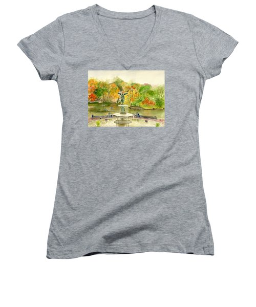 Autumn At Central Park Ny Women's V-Neck T-Shirt (Junior Cut) by Melly Terpening