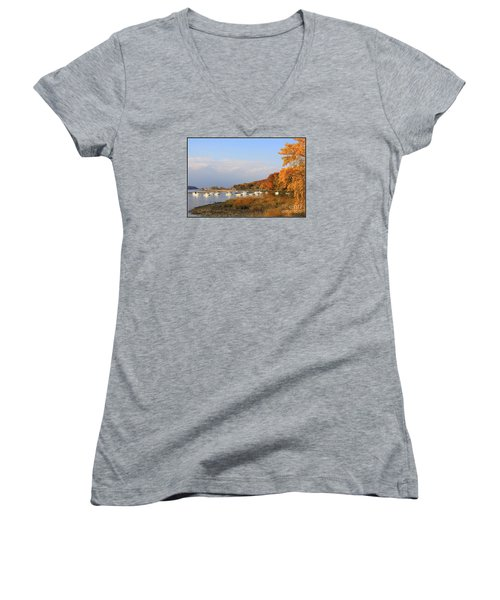 Autumn At Cold Spring Harbor Women's V-Neck (Athletic Fit)