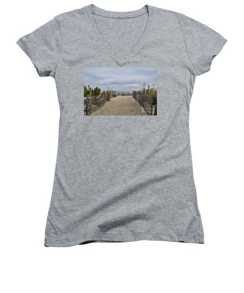Autumn At The Beach Women's V-Neck (Athletic Fit)