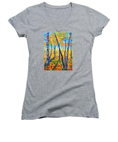 Autumn Colors Women's V-Neck T-Shirt (Junior Cut) by Ana Maria Edulescu