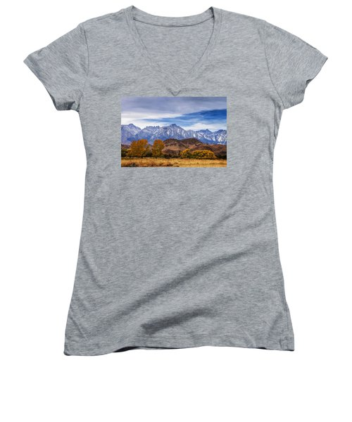 Autumn Colors And Mount Whitney Women's V-Neck T-Shirt (Junior Cut) by Andrew Soundarajan