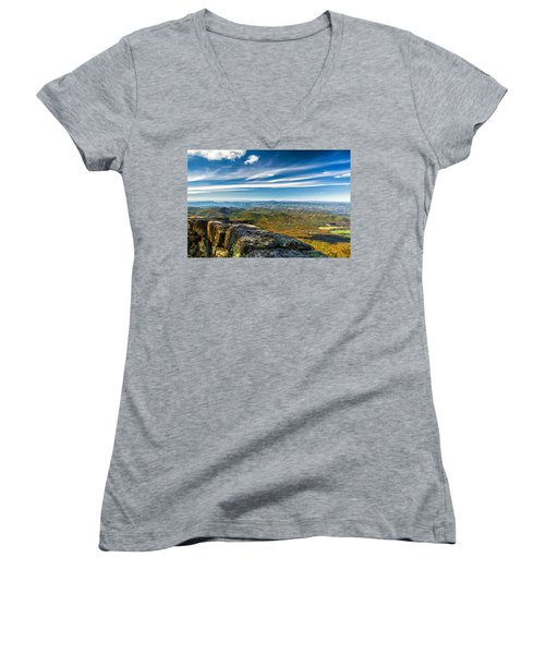 Autumn Colors In The Blue Ridge Mountains Women's V-Neck (Athletic Fit)