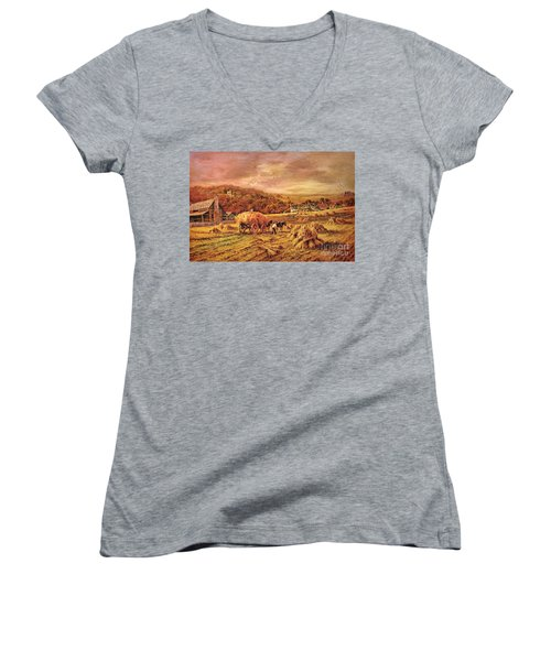Women's V-Neck T-Shirt (Junior Cut) featuring the digital art Autumn Folk Art - Haying Time by Lianne Schneider