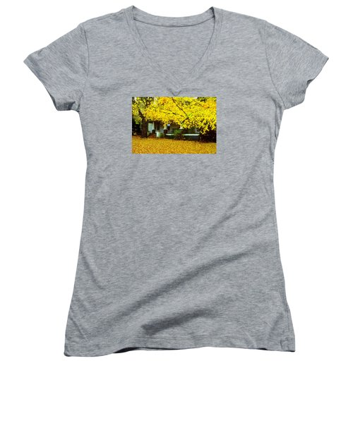 Women's V-Neck T-Shirt (Junior Cut) featuring the photograph Autumn Homestead by Rodney Lee Williams