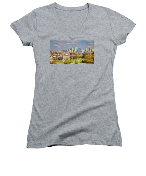 Autumn In Kansas City With Logo Women's V-Neck (Athletic Fit)