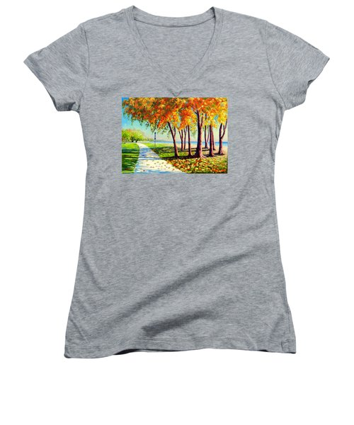 Autumn In Ontario Women's V-Neck (Athletic Fit)