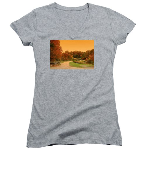 Autumn In The Park - Holmdel Park Women's V-Neck