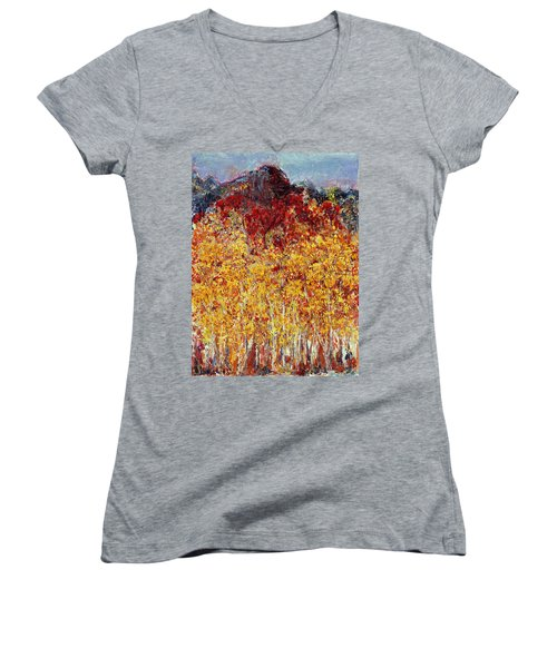 Autumn In The Pioneer Valley Women's V-Neck T-Shirt (Junior Cut) by Regina Valluzzi