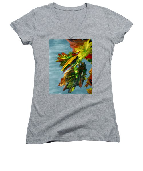 Autumn Leaves Women's V-Neck T-Shirt (Junior Cut) by Michael Daniels