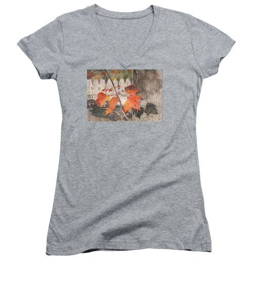 Autumn Leaves On Belmont St Women's V-Neck T-Shirt
