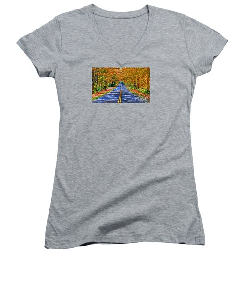 Autumn Road Oneida County Ny Women's V-Neck T-Shirt (Junior Cut) by Diane E Berry