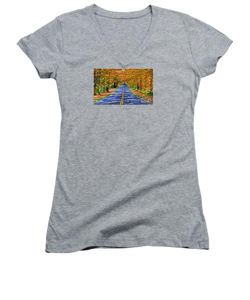 Autumn Road Oneida County Ny Women's V-Neck T-Shirt