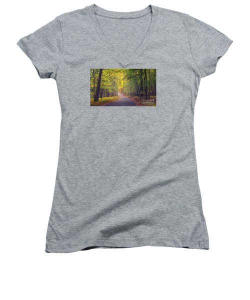 Autumn Road Women's V-Neck T-Shirt (Junior Cut) by Rima Biswas