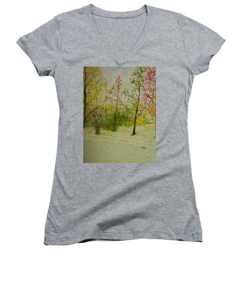 Autumn Scenery Women's V-Neck (Athletic Fit)