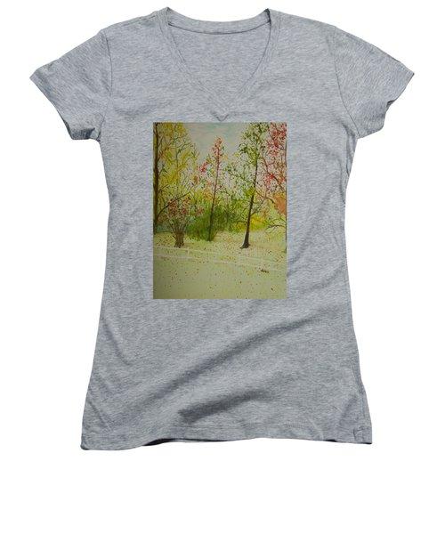 Autumn Scenery Women's V-Neck T-Shirt