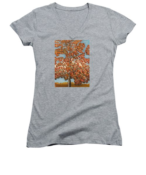 Autumn Tree Women's V-Neck (Athletic Fit)