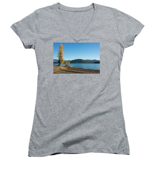 Women's V-Neck T-Shirt (Junior Cut) featuring the photograph Autumn Trees At Lake Wanaka by Stuart Litoff