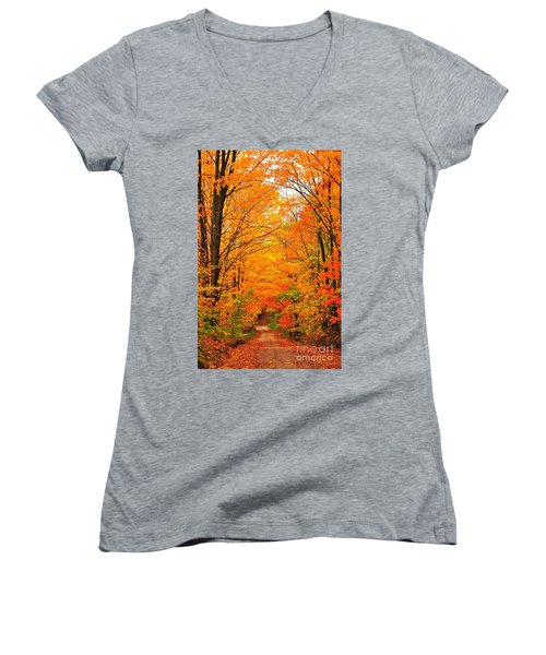 Women's V-Neck T-Shirt (Junior Cut) featuring the photograph Autumn Tunnel Of Trees by Terri Gostola