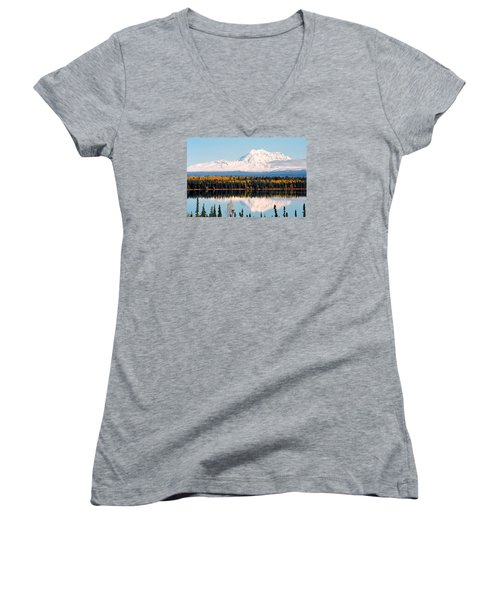 Autumn View Of Mt. Drum - Alaska Women's V-Neck T-Shirt (Junior Cut) by Juergen Weiss
