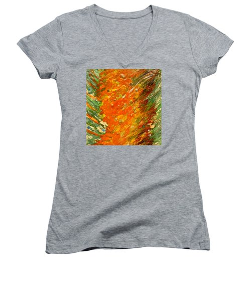 Women's V-Neck T-Shirt (Junior Cut) featuring the painting Autumn Wind by Joan Reese