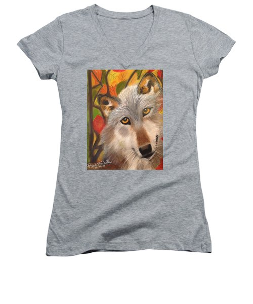 Autumn Wolf Women's V-Neck (Athletic Fit)