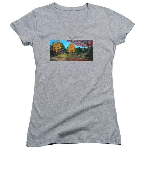 Women's V-Neck T-Shirt (Junior Cut) featuring the painting Autumns Rustic Path by Wendy Shoults