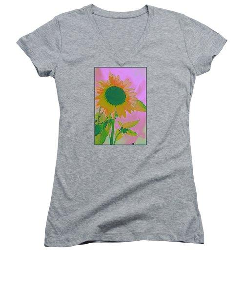 Autumn's Sunflower Pop Art Women's V-Neck T-Shirt (Junior Cut) by Dora Sofia Caputo Photographic Art and Design