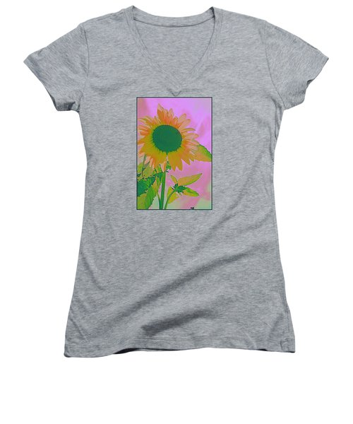 Autumn's Sunflower Pop Art Women's V-Neck T-Shirt (Junior Cut)