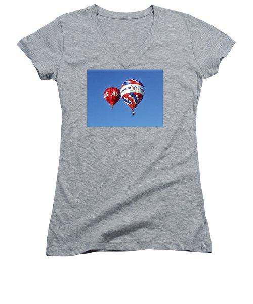 Avis Balloon Women's V-Neck T-Shirt (Junior Cut) by John Swartz