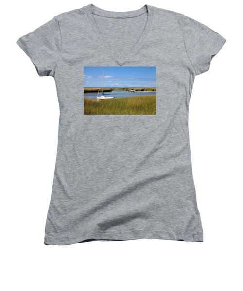 Women's V-Neck T-Shirt (Junior Cut) featuring the photograph Awaiting Adventure by Gordon Elwell