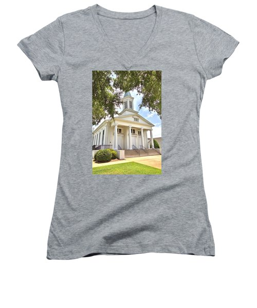 Women's V-Neck T-Shirt (Junior Cut) featuring the photograph Awaiting The Congregation by Gordon Elwell