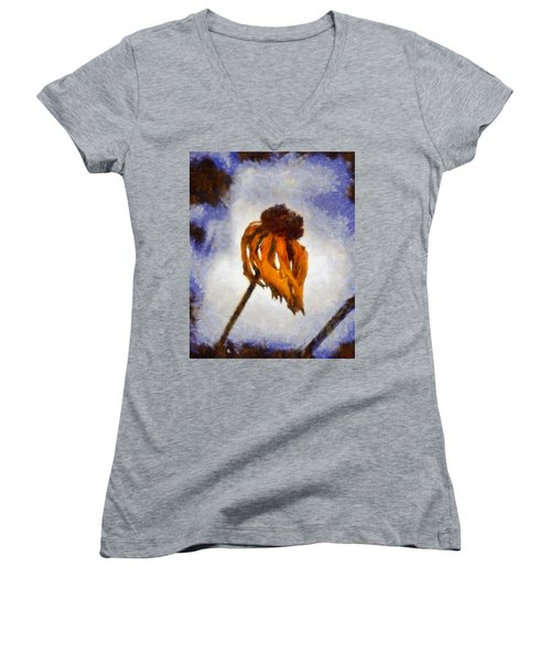 Women's V-Neck T-Shirt (Junior Cut) featuring the painting Awaken A New Life by Joe Misrasi