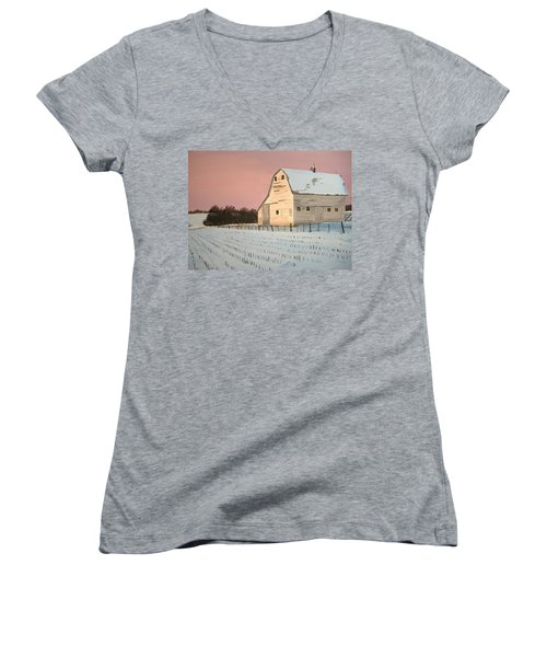 Award-winning Original Acrylic Painting - Nebraska Barn Women's V-Neck (Athletic Fit)