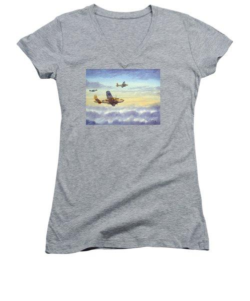 B-25 Mitchell Women's V-Neck T-Shirt (Junior Cut) by Bill Holkham