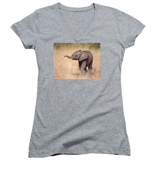Elephant Calf Painting Women's V-Neck T-Shirt (Junior Cut) by Rachel Stribbling