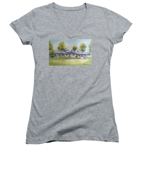 Back Of House Women's V-Neck T-Shirt (Junior Cut) by Debbie Lewis