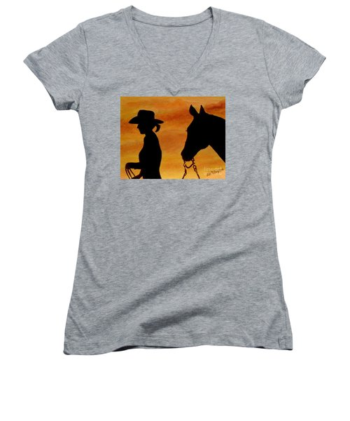 Women's V-Neck T-Shirt (Junior Cut) featuring the painting Back To The Barn by Julie Brugh Riffey