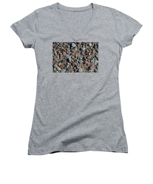 Women's V-Neck T-Shirt (Junior Cut) featuring the photograph Background Of Wet Pebbles And Sand by Kennerth and Birgitta Kullman