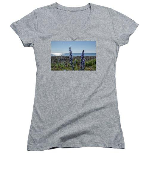 Women's V-Neck T-Shirt (Junior Cut) featuring the photograph Backlit Blue Flowers  by Kennerth and Birgitta Kullman