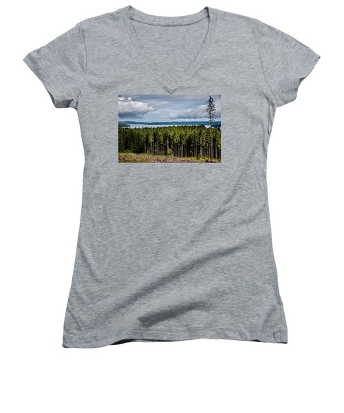 Women's V-Neck featuring the photograph Logging Road Landscape by Roxy Hurtubise