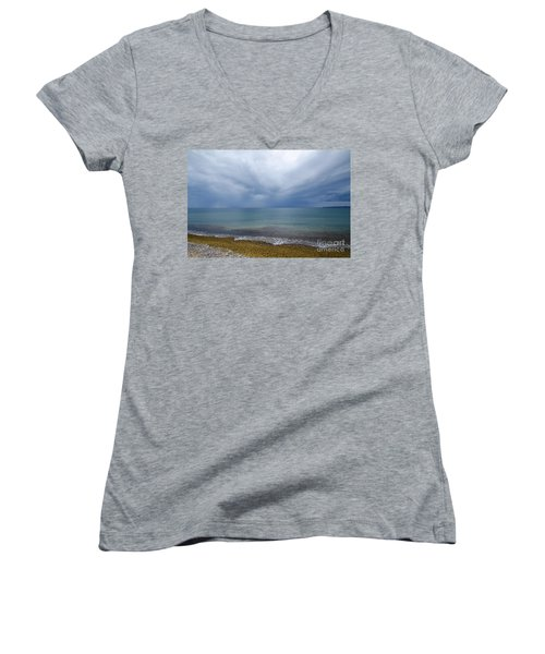 Women's V-Neck T-Shirt (Junior Cut) featuring the photograph Bad Weather Approaching At The Coast by Kennerth and Birgitta Kullman