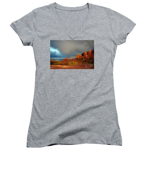 Women's V-Neck T-Shirt (Junior Cut) featuring the photograph Bad Weather Coming by Randi Grace Nilsberg