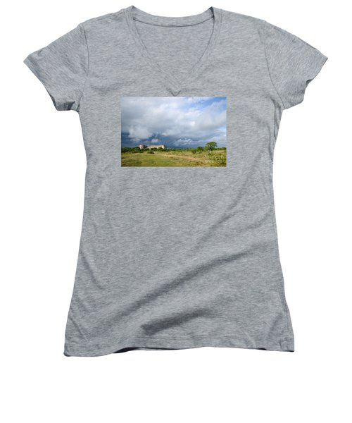 Women's V-Neck T-Shirt (Junior Cut) featuring the photograph Bad Weather Is Coming Up At  A Medieval Castle Ruin by Kennerth and Birgitta Kullman
