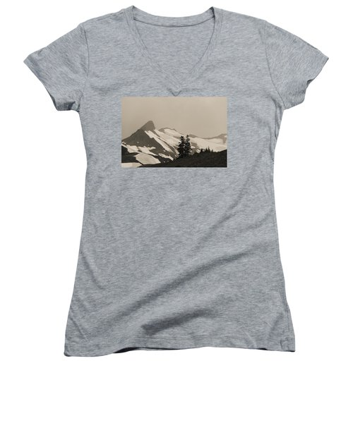 Women's V-Neck T-Shirt (Junior Cut) featuring the photograph Fog In Mountains by Yulia Kazansky