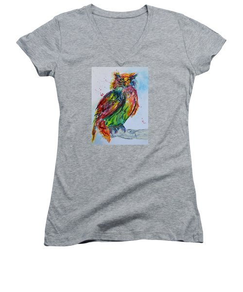 Women's V-Neck T-Shirt (Junior Cut) featuring the painting Baffled Owl by Beverley Harper Tinsley