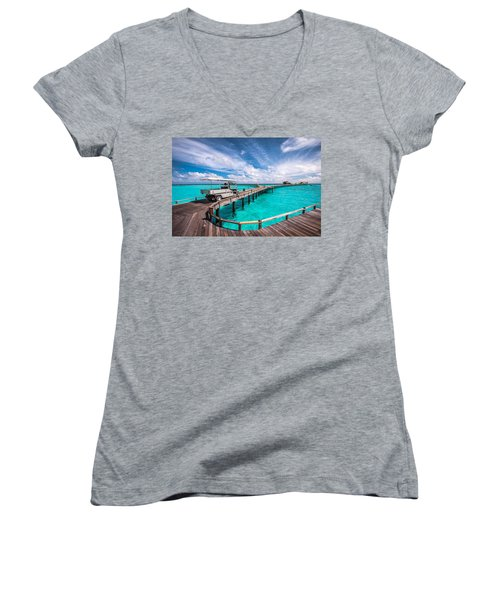 Baggy On The Jetty Over The Blue Lagoon Women's V-Neck