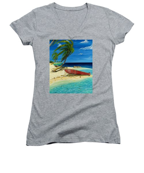 Bahama Beach Women's V-Neck (Athletic Fit)