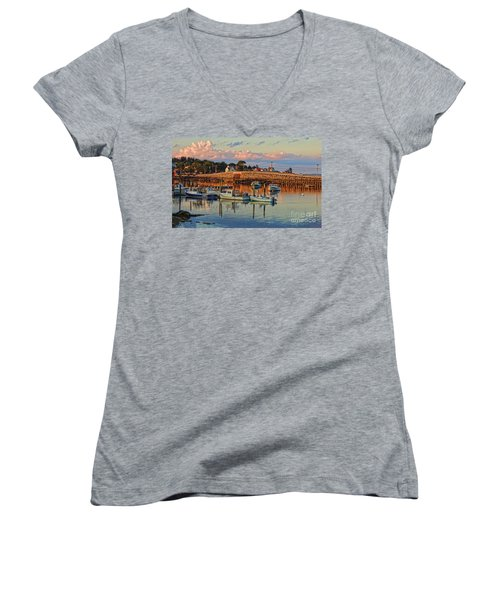 Bailey Island Bridge At Sunset Women's V-Neck T-Shirt