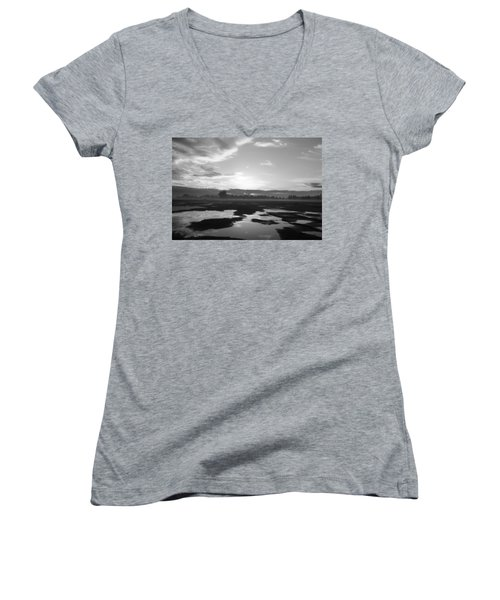 Women's V-Neck T-Shirt (Junior Cut) featuring the photograph Bakersfield In Black And White by Meghan at FireBonnet Art